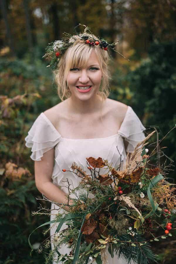 Podzimní lesní svatební kytice.