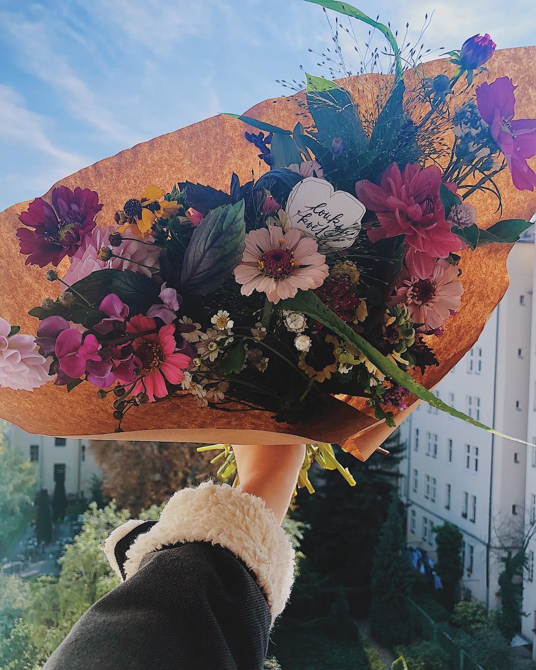 Miluju květiny na stůl, čerstvé kytice české, květinév předplatné, kornout.